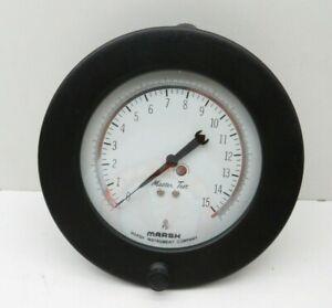 """Marsh D6140BZ Master Test Dial Pressure Gage 0-15psi 4.5"""" Dia 1/4"""" NPT, 15 SFMH"""