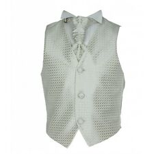 BOYS FORMAL WAISTCOAT CRAVAT HANDKERCHIEF SET WEDDING PROM COMMUNION CHRISTENING