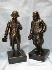 George Washington & Ben Franklin 19th Century French Statues, Bronze With Marble