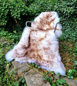XXXXL HUGE A+++ 140cm by 80cm British Cream & Brown Wolftip Sheepskin Rug
