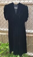 Vintage 30s 40s soft inky black silk velvet cocktail dress puff sleeves S M Used