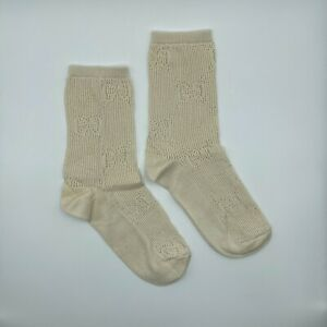 New Gucci Men's Ivory Cotton Socks with GG Pattern L 536403 9200