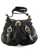 Coccinelle Women's Black Leather and Canvas Shoulder Bag