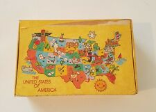 Vintage 1970's General Box Co School Pencil Box - United States Of America Map