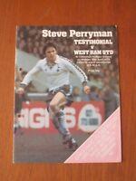 Tottenham v West Ham United football programme - Steve Perryman Testimonial 1979