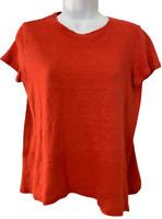J. Jill size small top coral orange 100% linen crew neck short sleeve pullover
