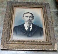 """Antique Portrait canvas pastel Gentleman Gesso wood Frame 28"""" X 25"""" Signed"""