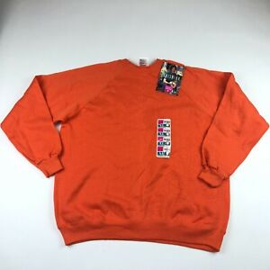 Vintage Hanes Her Way Orange Crew Neck Sweatshirt Misses Size XL NWT