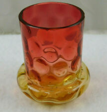 VICTORIAN AMBERINA GLASS BULGE BASE IVT TOOTHPICK HOLDER