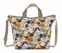 LeSportsac Cat Cafe Bene Easy Carry Tote Crossbody + Top Handle Handbag NWT K812