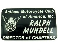 ".""ANTIQUE MOTORCYCLE CLUB OF AMERICA"" DIRECTOR OF CHAPTERS JACKET BADGE."