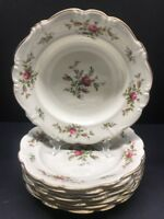 """6 VTG Rosenthal Pompadour Antoinette Rose Rimmed Soup Bowls 8.5"""" Gold Trim Rare"""