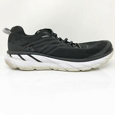 Hoka One One Mens Clifton 6 1102873 BWHT Black Running Shoes Lace Up Size 12