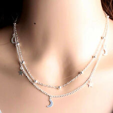 Charms Multilayer Necklace Silver Moon Stars Hippy Boho Thin Short Chain Pendant