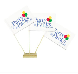 """Custom Printed Table Flags 6"""" on 10"""" Pole ADD YOUR COMPANY LOGO Pack of 50"""