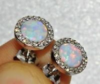 STERLING SILVER (925) OPAL CABOCHON HALO CLUSTER STUD EARRINGS -