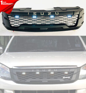 FOR ISUZU D-MAX DMAX 2012 13 14 FRONT GRILLE GRILL CHROME LOGO FONT WHITE 4 LED