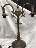 "Rare Unusual Antique Vtg Brass Table Lamp Art Deco 2 Arm Desk Student 22""x16"""