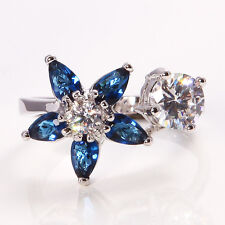 White Gold Plated Flower Blue Clear Crystal CZ Cocktail Ring Size Q / 8. 1692