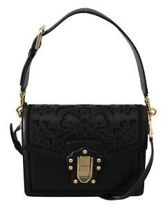 DOLCE & GABBANA Bag LUCIA Purse Black Floral Leather Cutout Shoulder RRP $3500