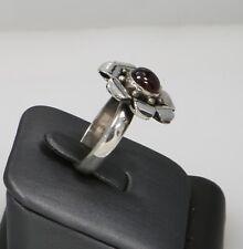 Vintage Sterling Silver Flower Garnet Ring Size 9 6.5 Grams
