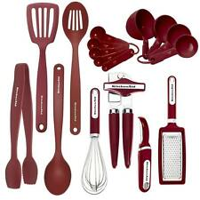 KitchenAid 17 Piece Red with Silverstone Steel Tool Cooking Utensils Set