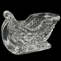 Vintage Williams Sonoma Clear Glass Sleigh Candy Dish Planter Heavy