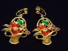 Vintage AVON Rhinestone Enamel Apple Grape Harvest Basket Dangle Clip Earrings