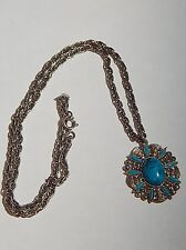 VINTAGE FAUX TURQUOISE NEEDLEPOINT OVAL CAB SILVERTONE PENDANT ON CHAIN NUMBERED
