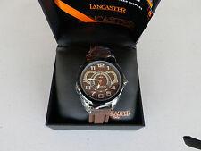 Lancaster Men's OLA0458MR-SL-MR Non Plus Ultra Brown Textured Dial Brown Silicon