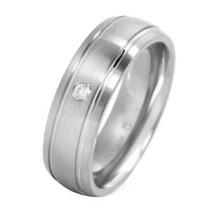 Gentlemens Band Ring With Genuine Diamond Made in Titanium- Size 10