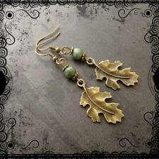 Bronze ragged leaf earrings & green jade, nature, woodland, forest, pagan
