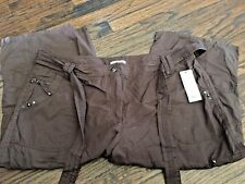 Women's Plus Brown Cargo Crop Capri Pant, With Belt and Jewels & Studs, Size 18W