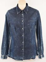 PIERRE BALMAIN Women's Washed Denim Effect Cotton Shirt, size SMALL