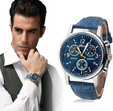 Reloj de pulsera para Hombre lujo casual banda Cuero movimiento Analógico Azul