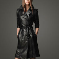 Hot Womens Slim Belt Lapel PU Leather Trench Coat Parka Long Jacket Black All Sz