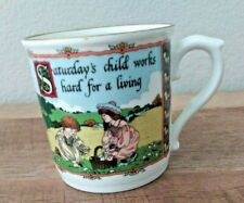 Royal Worcester Sue Scullard Saturday's Child Birthday Fine Porcelain Mug