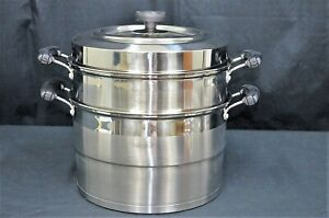 2 Tier Stainless Steel  Stock Pot With One Level Steamer 30cm