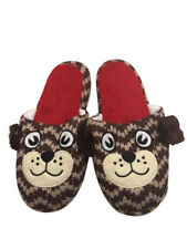 Womens Plush Slipper Ultra-Soft Pinup Cozy Non-Skid Slippers Brown Red XL 11-12