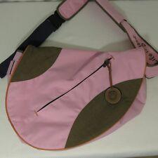 Life Is Good Smile Sling Messenger Shoulder Bag Satchel Crossbody Pink Brown