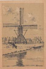 WINDMILL: NETHERLANDS-Friese Watermolen-Art Card -REINDERS