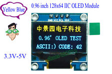 "Yellow Blue 0.96"" inch 128x64 IIC I2C OLED LCD LCM Display Module für Arduino 51"