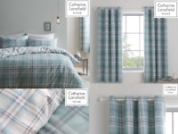 Catherine Lansfield Kelso Tartan Checked Ochre Duvet Quilt Cover Set / Curtains