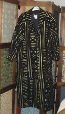 Magic100% Suede Leather Long Coat Jacket Black w/ Gold Accent Color Lined Size M
