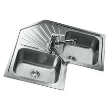 Teka Corner Sink 2 Basin Stainless Steel Kitchen Inbuilt