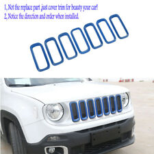 Blue ABS Front Grille Insert Grill Mesh Cover Trim fits Jeep Renegade 2015-2018
