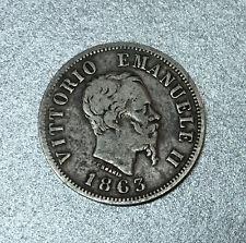 ITALIE 50 CENTISIMI 1863 VITTORIO EMANUELLE III RE d'ITALIE a MILAN en ARGENT