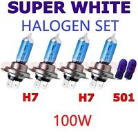 H7 x4 100W 12V HALOGEN SUPER WHITE XENON HEADLIGHT FOG BULBS LIGHT+501 W5W