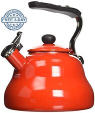 Red Retro Stylish Enamel Kettle Whistling Kettles Stove Top Induction Hobs Aga