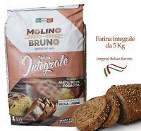 Farina Integrale per Pizza Pane Pasta farine di grano tenero con Fibre 5 kg 10